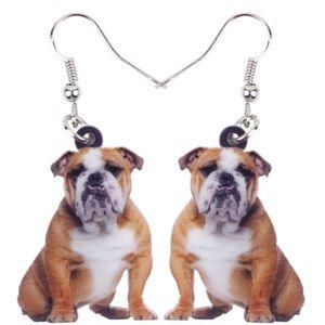 British Bulldog Acrylic Earrings
